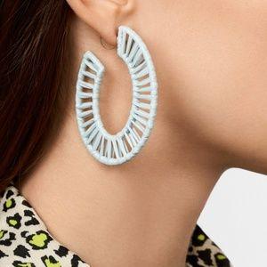 BaubleBar Rahima Raffia Blue Hoop Earrings